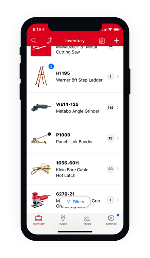 Mobile view of the inventory menu