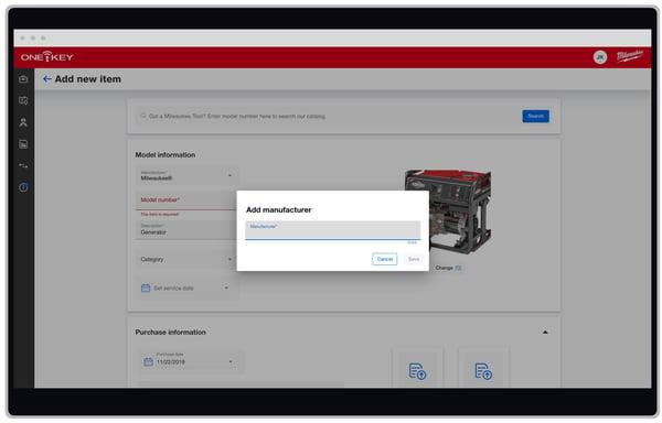 Screenshot of the add a manufacturer window