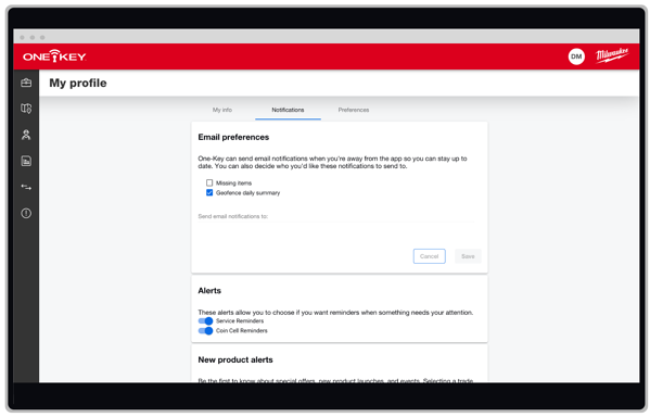 Adjust email preferences in One-Key