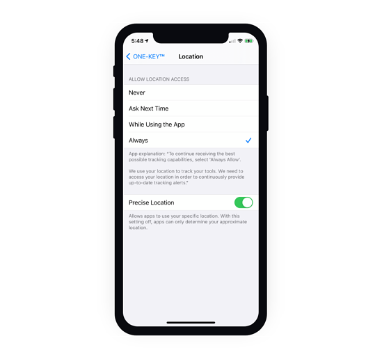 Keeping location services activated at all times is the only way to maintain the strongest and most current connection between your phone and your equipment.