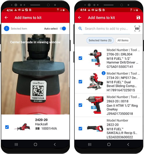 Two android devices display adding item by asset ID tag (left) and adding items by search (right) to kit