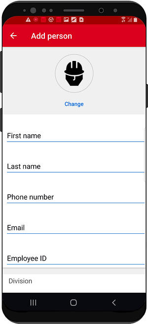 Screen shows the process of creating new person in collaborative inventory management app