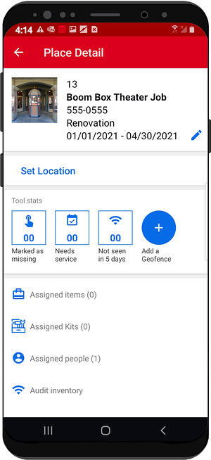 """Place's details features """"add a geofence"""" button"""