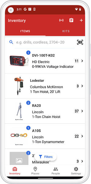 Mobile view of inventory on Android device