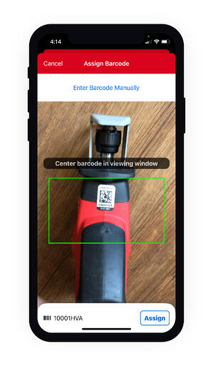 Asset ID tag applied to Hackzall is scanned using smartphone's built-in camera and assigned to tool