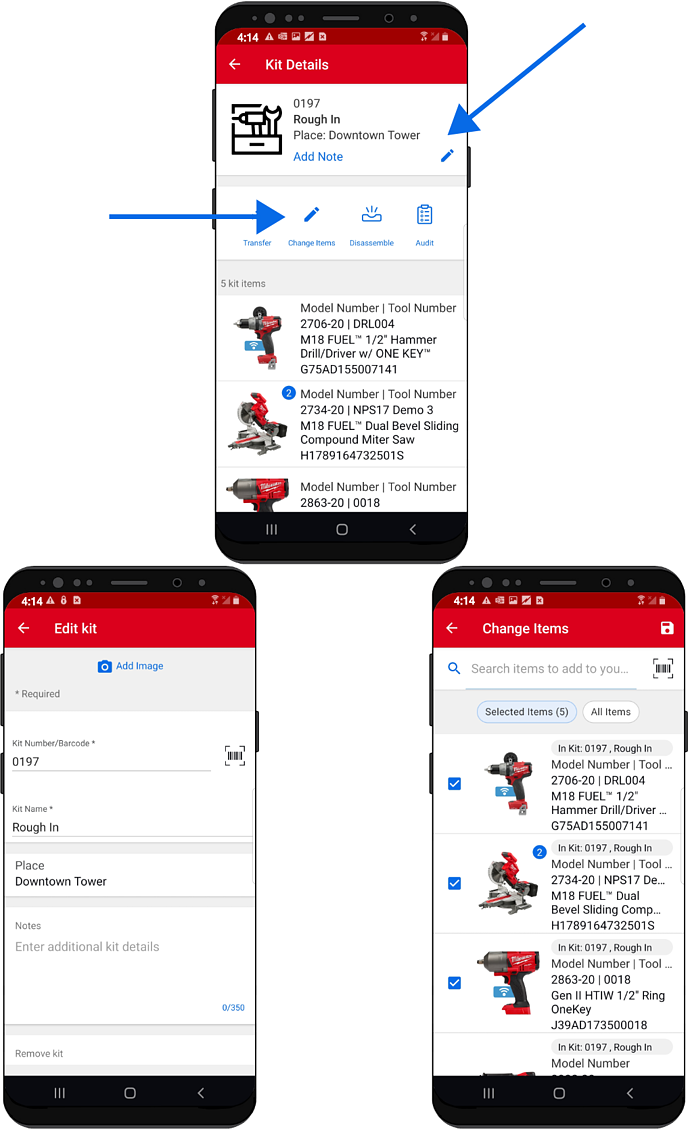 3 android devices display the ability to edit and change items in kit