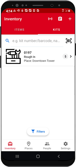 Inventory screen on android smartphone app shows tool kit recently added