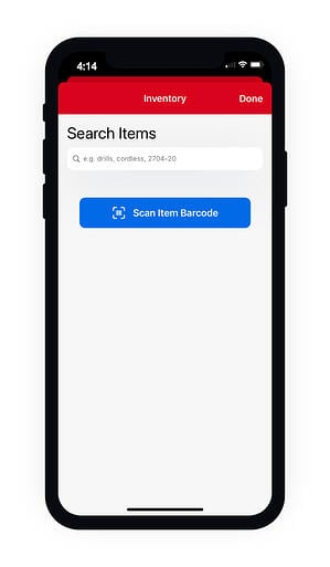 """Smartphone displays inventory search by keyword or to """"search item barcode"""""""