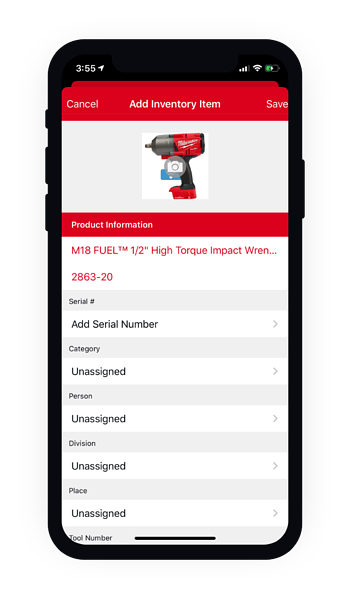Phone showing how to add a Milwaukee tool to your inventory