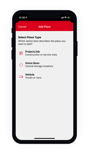 Phone displaying the add a place for your tools screen