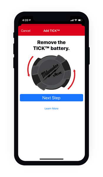 Phone telling user how to remove the TICK battery on mobile