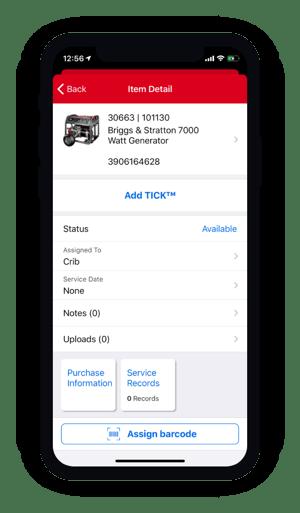 Item detail on mobile