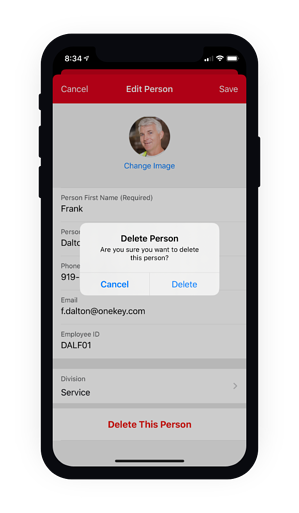 Delete a person from your mobile device confirmation screen