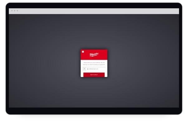 Forgotten password screen on desktop