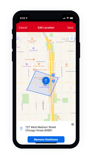 Mobile view of the remove geofence option