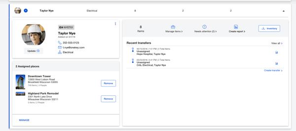 Screenshot of personnel profile on desktop