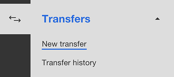 Screenshot of Transfers menu