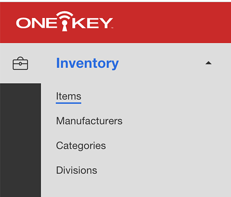 Screenshot of one key inventory menu