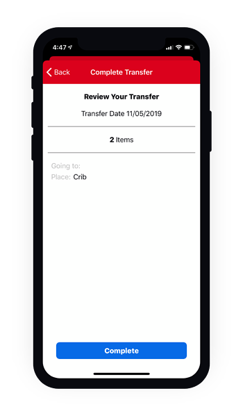Phone showing the review your transfer screen