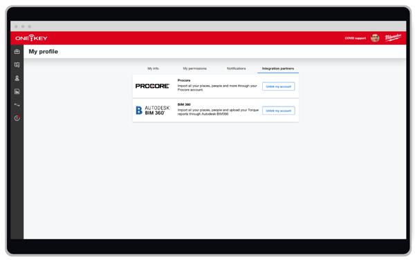 screenshot of link accounts settings in One-Key