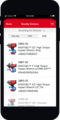 screenshot of nearby devices in One-Key mobile app