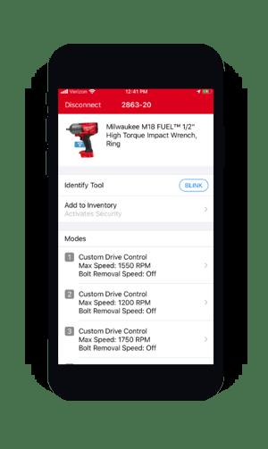 screenshot of individual tool status in One-Key mobile app