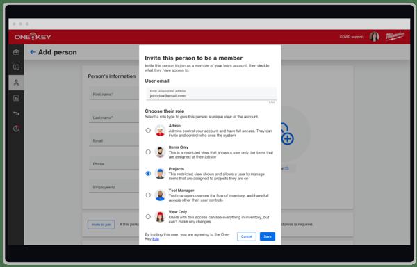 screenshot of choosing new user role in One-Key
