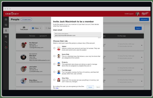 screenshot of inviting new team members to One-Key