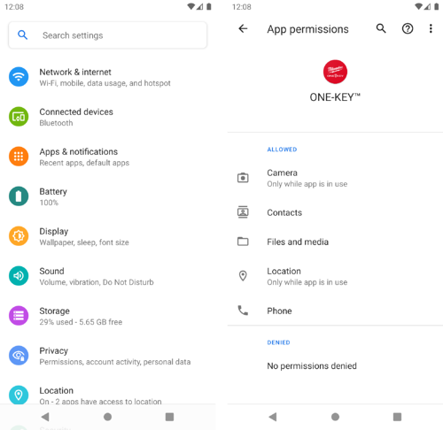 screenshot of Android 11 locations permissions on mobile phone