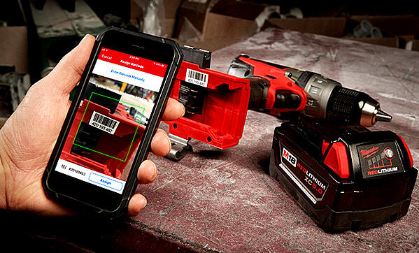 scanning a tool's barcode with a mobile phone